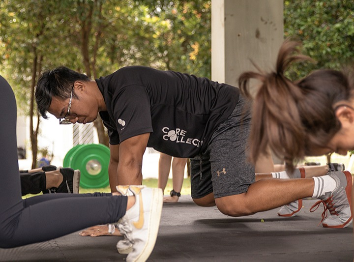 trainer leading workout
