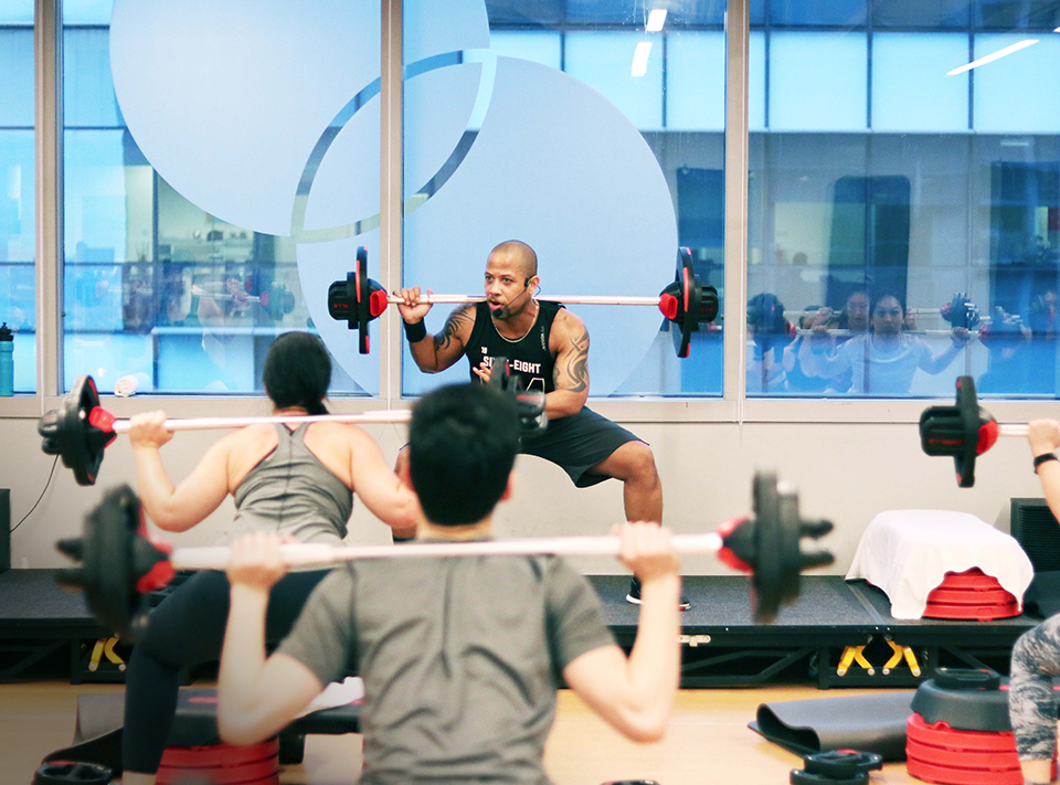 Les Mills instructor and students